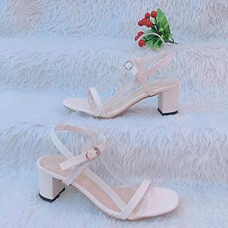Giày Sandal Nữ Đẹp / Cao Gót Hở Mũi Da Mềm Đế Vuông 7 phân Quai Mảnh Kiểu Dáng Hàn Quốc Êm Chân CTS-CG