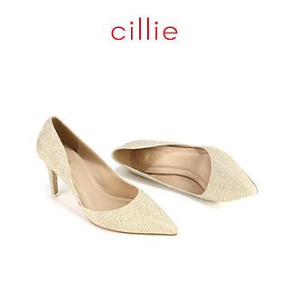 Giày cao gót nữ kim tuyến khoét eo cao 7cm Cillie 1045