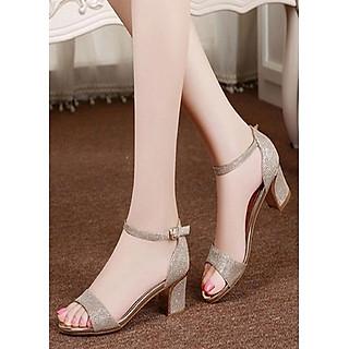 Giày gót vuông đế viền vàng cao cấp DS02