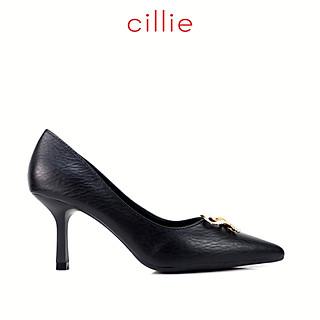 Giày cao gót nữ mũi nhọn phối nơ đính đá cao 7cm Cillie 1134
