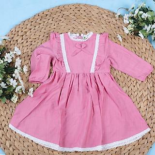 Váy viền bèo nơ thu đông hồng, cam, đỏ 2/10T. Váy thiết kế chính hãng litibaby