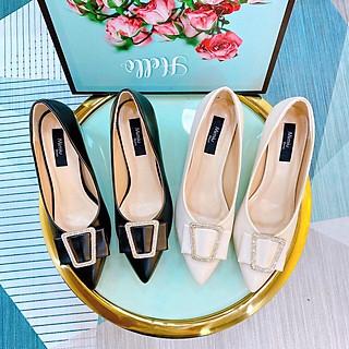 Giày búp bê nữ thời trang mũi nhọn, giày cao gót nữ đế nhọn cao 5p form chuẩn màu đen và kem