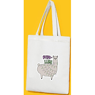 Túi Vải Đeo Vai Tote Bag In Hình No Problem Llama Mẫu 02 - Hàng Chính Hãng