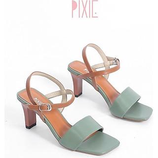 Giày Sandal Cao Gót 6cm Quai Bản To Mix 2 Màu Pixie X484