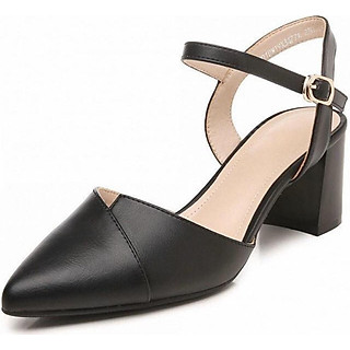 Giày cao gót nữ da mềm đế vuông 5p vạt chéo siêu xinh GC51