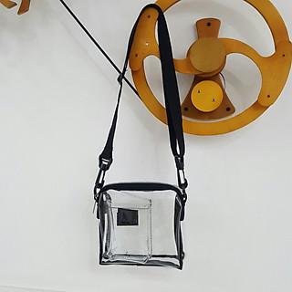 Túi trong suốt đeo chéo TROY phối hộp nhỏ phía trước