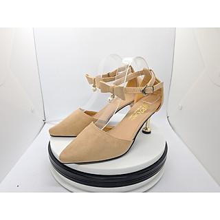 Giày Nữ, Giày Cao Gót Nữ/ Sandal Cao Gót Nữ  Màu Kem Da Nhung Mềm Mịn Bít Mũi, Phối Nơ Hạt Ngọc, Quai Cài Ngang, Đế Nhọn Cao 5 Phân, 5 Cm Phong Cách Hàn Quốc CGPN0095-YN141