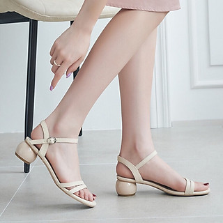 Sandal  Cao Gót Nữ Đẹp Màu Kem  Hở Mũi Gót Tròn Cao Cấp 3 Phân Chất Da Mềm Phong Cách Hàn Quốc.