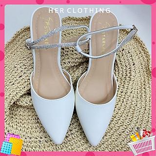 Giày cao gót màu trắng mũi nhọn dự tiệc dạo phố siêu xinh