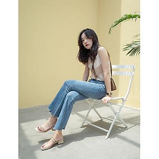 Giày cao gót nữ 3 phân đế vuông Hàn Quốc mũi vuông Cao Cấp, Sang Trọng G08