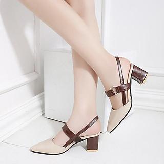 Giày cao gót nữ đẹp 7 phân công sở bít mũi khoá C quai bò