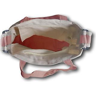 Túi tote đeo chéo Covi in chữ Healthy Life vải canvas màu hồng