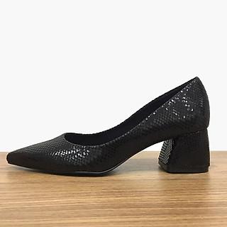 Giày gót vuông nữ cách điệu đen vân bóng - sử dụng forrm giày xuất khẩu EU SrM15