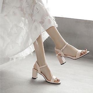 Sandal Giày Cao Gót Công Sở Đẹp Basic Da Lì Quai Hậu Đế Vuông Cao Cấp Cao 7 Cm Phong Cách Hàn Quốc.