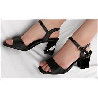Giày sandals nữ cao gót  7cm gót vuông 8264 màu đen nhũ ánh