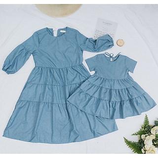 Đầm Tầng Cao Cấp Xanh Đá cho Mẹ và Bé Gái chuẩn form cực xinh - SB27 (giá hiển thị của 1 đầm)