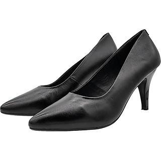 Giày Cao Gót 7cm Da Bò Thật Cực Mềm, Gót Nhọn Dáng Xinh Trẻ Trung 7P0216 (Đen)