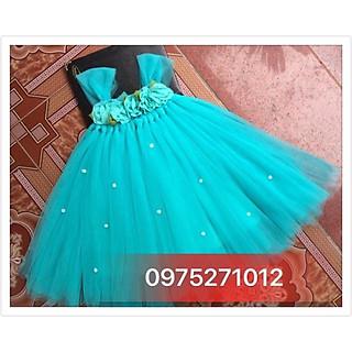 Đầm thiết kế ️️ Đầm xanh ngọc hoa chiffon thiết kế cho bé