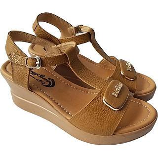 Giày Sandal Nữ Đế Xuồng BIGGBEN Da Bò Thật SDX23