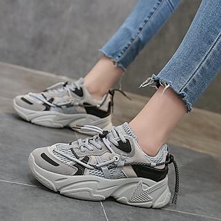 Giày Sneaker nữ | Giày thể thao nữ độn đế chất da mềm mại kiểu dáng basic giá rẻ phong cách Hàn Quốc