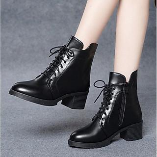 Giày Bốt Nữ Cổ Lửng Có Khóa Kéo Đế Vuông 5cm Mã H83