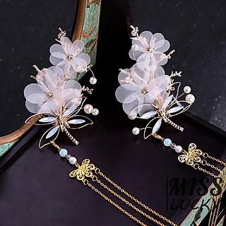 Ghim cài tóc nữ cổ trang hình chuồn chuồn bướm đính đá kèm tua rua phong cách retro kích thước 9.5cm tặng ảnh VCone
