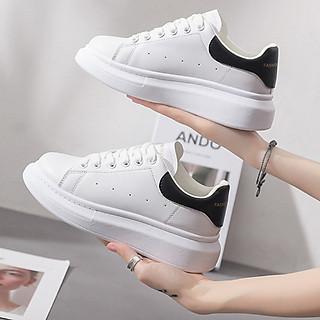 Giày Sneaker Nữ MC Màu Trắng Đế Đen Cao 5cm Êm Chân S366