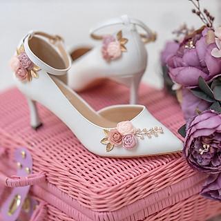Giày cưới Nghé Art hở eo hoa hồng 291