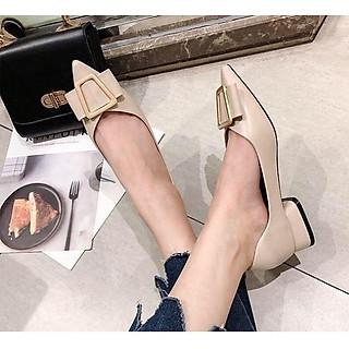 Giày búp bê nữ mũi nhọn khóa nơ , khoét eo, gót vuông 3cm