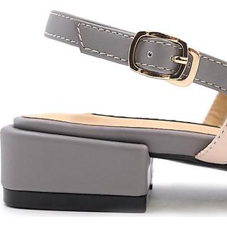 Giày Sandal 4 Quai Gót Vuông 3 phân Sulily màu xám
