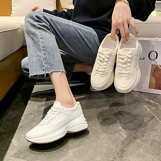 Giày sneaker nữ màu trắng đế độn 5p