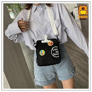 Túi đeo chéo thời trang tặng kèm kẹp và huy hiệu hoạt hình PopoPanda T003 chính hãng, túi đeo bao tử basic phong cách thời trang Hàn Quốc dễ dàng phối đồ