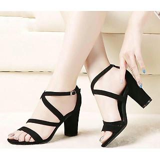 Giày cao gót / Sandal Cao Gót Nỉ Đan Dây Da Nữ Cao Cấp Đế Vuông Đen Cao 7p - CTG7505
