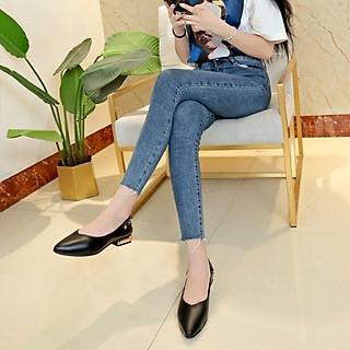 Giày nữ bít mũi đế vuông cao 2cm mũi nhọn trang trí dây đinh tán có thể đi được 2 kiểu C23n