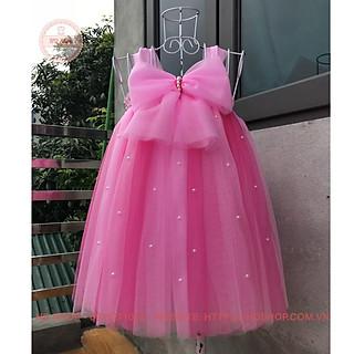 Váy công chúa ️️ Váy công chúa cho bé hồng phấn phối hồng sen nơ đính đá