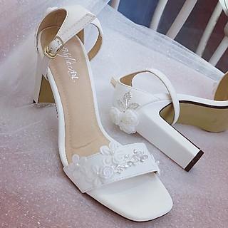 Giày cưới Nghé Art sandal hoa bưởi đính gót 258