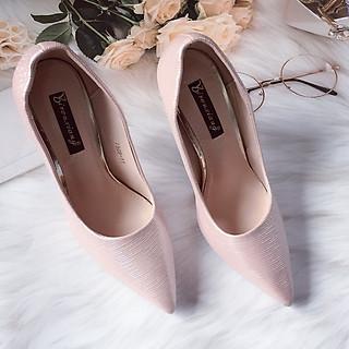 [Màu đen, hồng] Giày Cao Gót  Vân Nhũ Gót Vuông Cực Sang Kèm Miếng Lót Mũi Giày