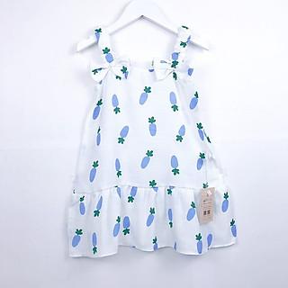 Váy Hai Dây Cho Bé Gái Họa Tiết Hoa Xin Xắn Chất Vải Đũi Cao Cấp