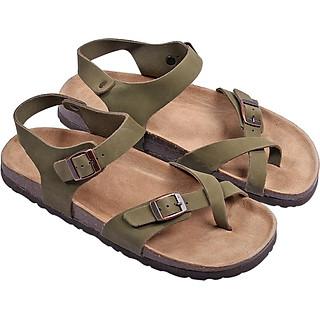 Giày Sandal Nữ Xỏ Ngón Da Bò Rêu Đế Trấu HuuCuong 2165