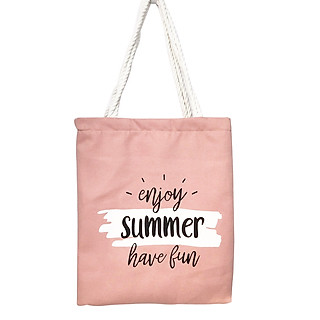 Túi Tote Túi Vải Nữ Canvas Hồng Dây Dù Loại Lớn Mẫu Enjoy Summer