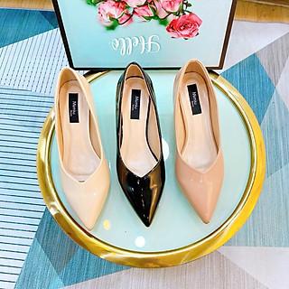 Giày búp bê nữ thời trang, giày cao gót mũi nhọn da bóng gót mica cao 5p màu nâu, kem và đen