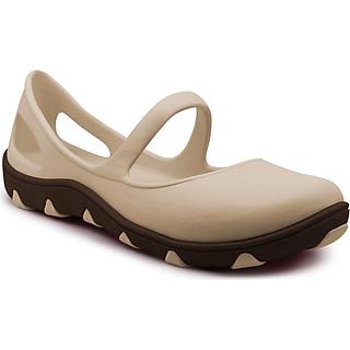 Giày Thái Lan Nữ - Kem đế nâu - Giày Nhựa Chuyên Dụng Đi Mưa Thời Trang, Chống Trơn Trượt