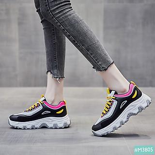 Giày Thể Thao Sneaker Độn Đế Tăng Chiều Cao 5cm MINSU MYIJIA M3805 Phong Cách Bata Đế Độn Hàn Quốc Phản Quang Phù Hợp Đi Chơi, Đi Học