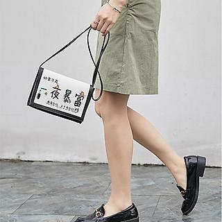 Túi đeo vai - đeo chéo nữ, kết hợp màu trắng & đen TD028