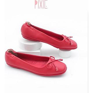 Giày Búp Bê Mũi Vuông Đế Âm Da Mềm Nơ Nhỏ Màu Đỏ Pixie P019