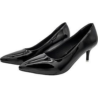Giày Cao Gót 5cm Gót Nhọn Trẻ Trung Dáng Xinh Xắn 5P0816 (Đen Bóng)