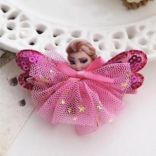 Kẹp tóc Disney Princess hình cánh bướm đính kim tuyến vải ren cho bé