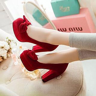 Giày gót vuông bít mũi nơ - CG707