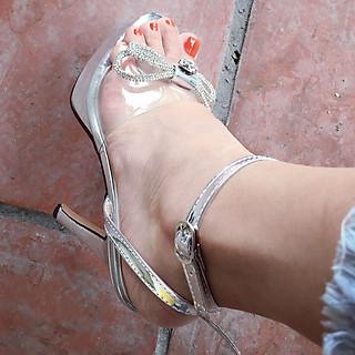 Giày Sandal Nữ Cao Gót Công Chúa Đế Đúp Nơ Đá Trong Suốt Kèm Tất/Vớ Da Chân