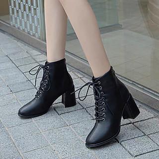 [Fullbox] Boots Nữ Buộc Dây Khoá Sau Cách Điệu Gót Vuông 7p Kèm Cặp Miếng Lót Giày